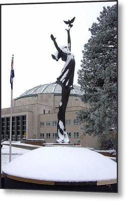 Peace Statue In Winter Metal Print