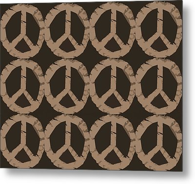 Peace Symbol Collage Metal Print by Michelle Calkins