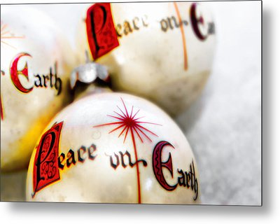 Metal Print featuring the photograph Antique Peace On Earth Christmas Decorations by Vizual Studio