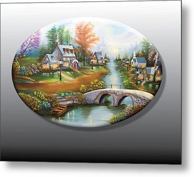 Peaceful Alpine Village 2 Metal Print
