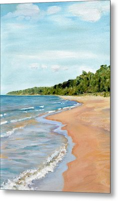 Peaceful Beach At Pier Cove Metal Print by Michelle Calkins