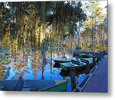 Peaceful Boat Landing By Jan Marvin Metal Print