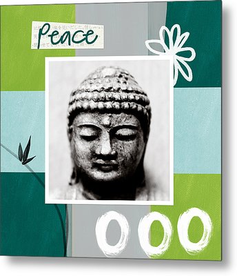 Peaceful Buddha- Zen Art Metal Print by Linda Woods