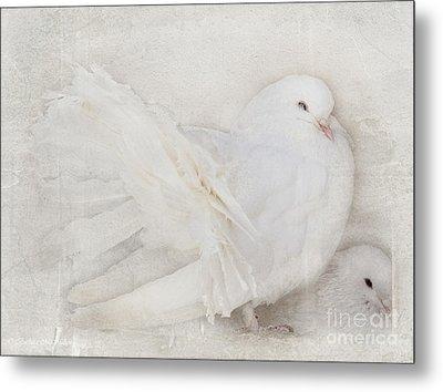 Peaceful Existence White On White Metal Print by Barbara McMahon