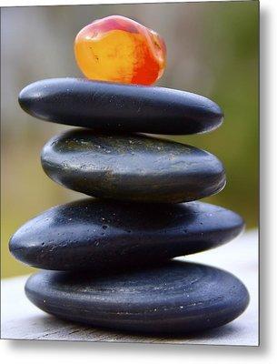 Peaceful Meditation Rocks Metal Print by Jennifer Lamanca Kaufman