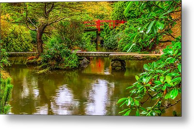 Peaceful Morning At Kubota Gardens Metal Print