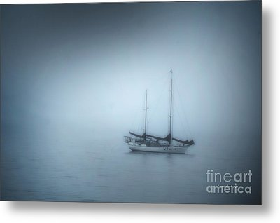 Peaceful Sailboat On A Foggy Morning From The Book My Ocean Metal Print