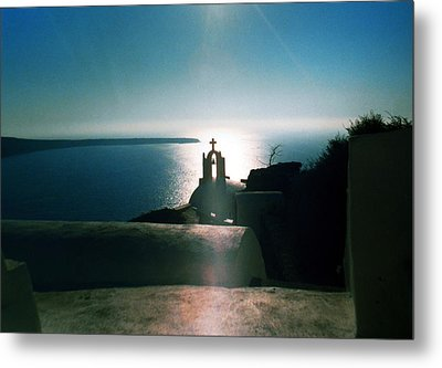 Metal Print featuring the photograph Peaceful Sunset Santorini Island Greece by Colette V Hera  Guggenheim