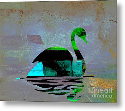 Peaceful Swan On A Lake Metal Print by Marvin Blaine