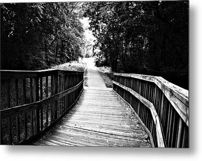 Peaceful Walkway Blackwhite Metal Print by Stephanie Grooms