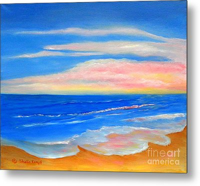 Metal Print featuring the painting Peacefully Pink - Pink Seascapes by Shelia Kempf