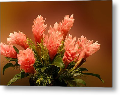 Peach Gibger Blossoms Metal Print