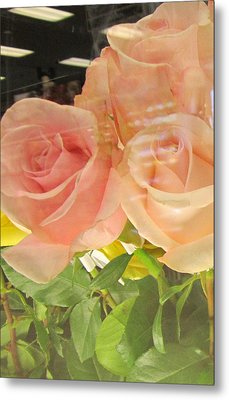 Peach Roses In Greeting Card Metal Print