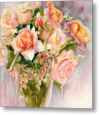 Metal Print featuring the painting Peach Roses In Vase by Bonnie Rinier