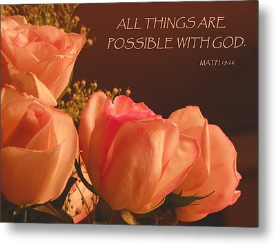 Peach Roses With Scripture Metal Print
