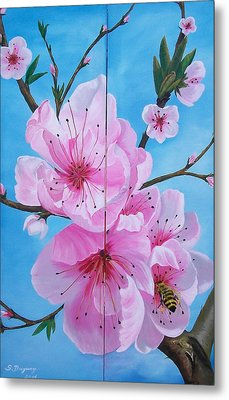 Peach Tree In Bloom Diptych Metal Print