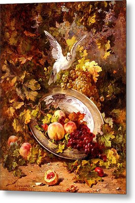 Metal Print featuring the painting Peaches And Grapes With A Dove - Bourland - 1875 by Antoine Bourland