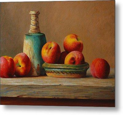 Peaches And Green Ceramic Metal Print by Dan Petrov