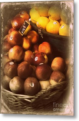 Peaches And Lemons - Old Photo - Top Finisher Metal Print by Miriam Danar