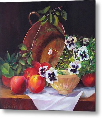 Peaches And Pansies  Metal Print by Donna Munsch
