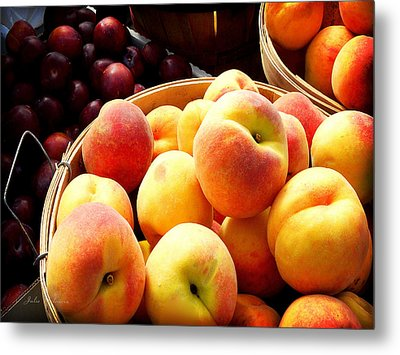 Peaches And Plums Farmers Market Metal Print by Julie Palencia