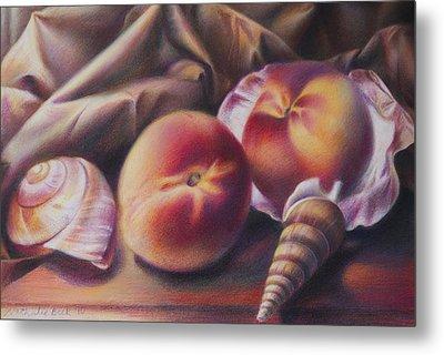 Peaches And Seashells Metal Print by Nathalie Beck