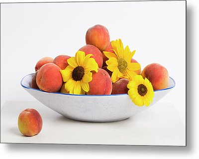 Peaches And Sunflowers Metal Print by Diane Macdonald