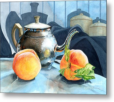 Peaches And Tea Metal Print by Barbara Jewell