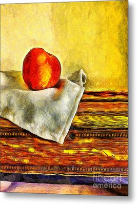 Peaches Still Life Van Gogh Metal Print by Edward Fielding