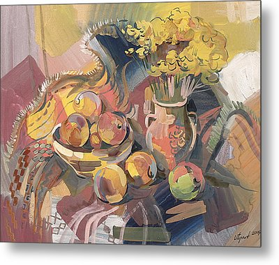 Peaches With Immorteles Metal Print by Meruzhan Khachatryan