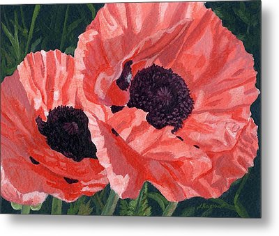 Metal Print featuring the painting Peachy Poppies by Lynne Reichhart