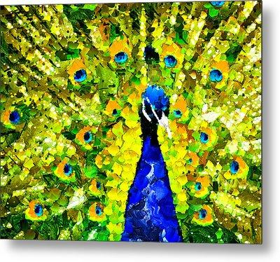 Peacock Abstract Realism Metal Print