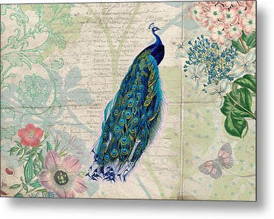 Peacock And Botanical Art Metal Print