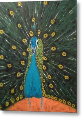 Peacock Metal Print by Brindha Naveen