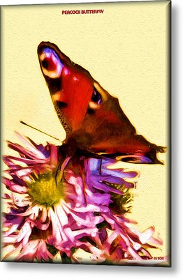 Metal Print featuring the digital art Peacock Butterfly by Daniel Janda