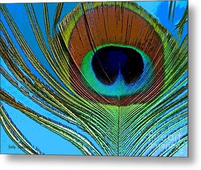 Peacock Feather 3 Metal Print by Sally Simon