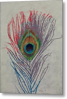 Peacock Feather Metal Print by Michael Creese
