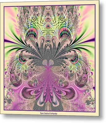 Peacock Feathers Bouquet Fractal 157 Metal Print by Rose Santuci-Sofranko