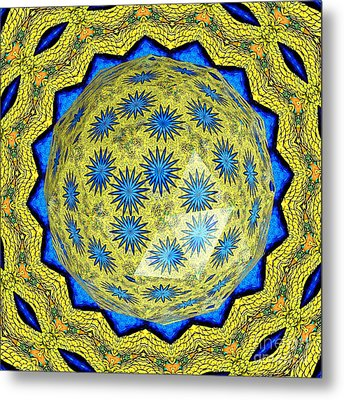 Peacock Feathers Under Polyhedron Glass 3 Metal Print by Rose Santuci-Sofranko