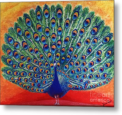 Metal Print featuring the painting Peacock By Jasna Gopic by Jasna Gopic
