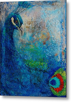 Peacock Metal Print by Jean Cormier