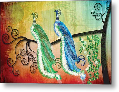 Metal Print featuring the digital art Peacock Love by Kim Prowse