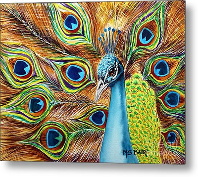 Peacock Metal Print by Maria Barry