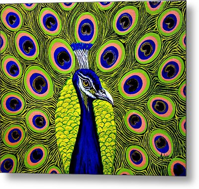 Peacock Mistique Metal Print by Adele Moscaritolo