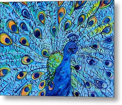 Peacock On Blue Metal Print by Eloise Schneider