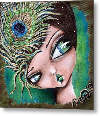 Peacock Princess Metal Print by Lizzy Love of Oddball Art Co