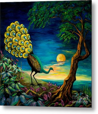 Peacock Strolls On The Beach Metal Print by Larry Martin