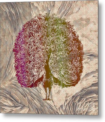 Peacock With Rainbow Colors Metal Print