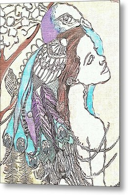 Peacock Woman 2 Metal Print by Amy Sorrell