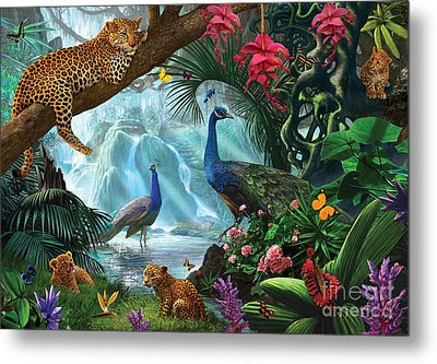 Peacocks And Leopards Metal Print